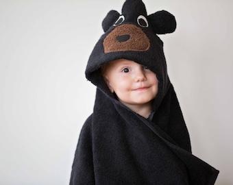 Black Bear Hooded Animal Towel with Squeaker, Hooded Towel, Hooded Bath towel, Bear Hooded Towel