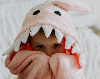 Pink Shark Hooded Towel With Squeaker, Girl Shark Child Hooded Towel, Shark Hooded Towel, Baby Hooded Towel