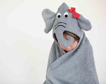 Grey Elephant Hooded Towel with Squeaker, Girl Elephant Hooded Towel, Hooded Bath Towel, Gray Elephant Hooded Towel