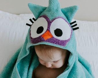 Owl Hooded Animal Towel, Child Hooded Owl Towel, Hooded Towel, Baby Hooded Owl Towel