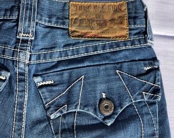 7e3d797bd Vintage True Religion Low Rise Denim Blue Jeans