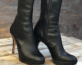 Vince Camuto Over the Knee Boots Emperial Black Leather, Leather Over The Knee Boots With Back Cutout, OTKB, Size 7M