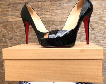 a66d758e6d44 Christian Louboutin Hyper Prive 120 Patent Calf Leather Black