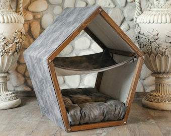 Cat Hammock Bed Pet Hammock Stand Cat Bed Small Dog Bed Wood Cat House Luxury Cat Bed Cat Furniture Hammock Cat Bed Pillow Pet Hammock Stand