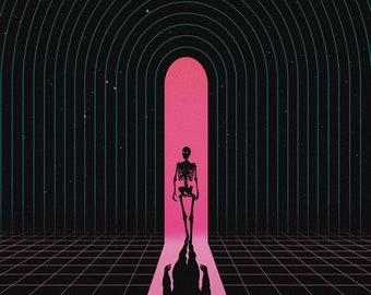 Just Passing Through // Unique Art Print // Poster // Sci-fi Print // Music Inspired // Middle of Nowhere // Vintage art // Faded Colours