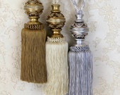 Luxury Curtain Rhinestone Tie Backs Elegant French Tassels Grey, Antique Gold, Cream Rustic Tieback Curtain Holdback Drapery Decor