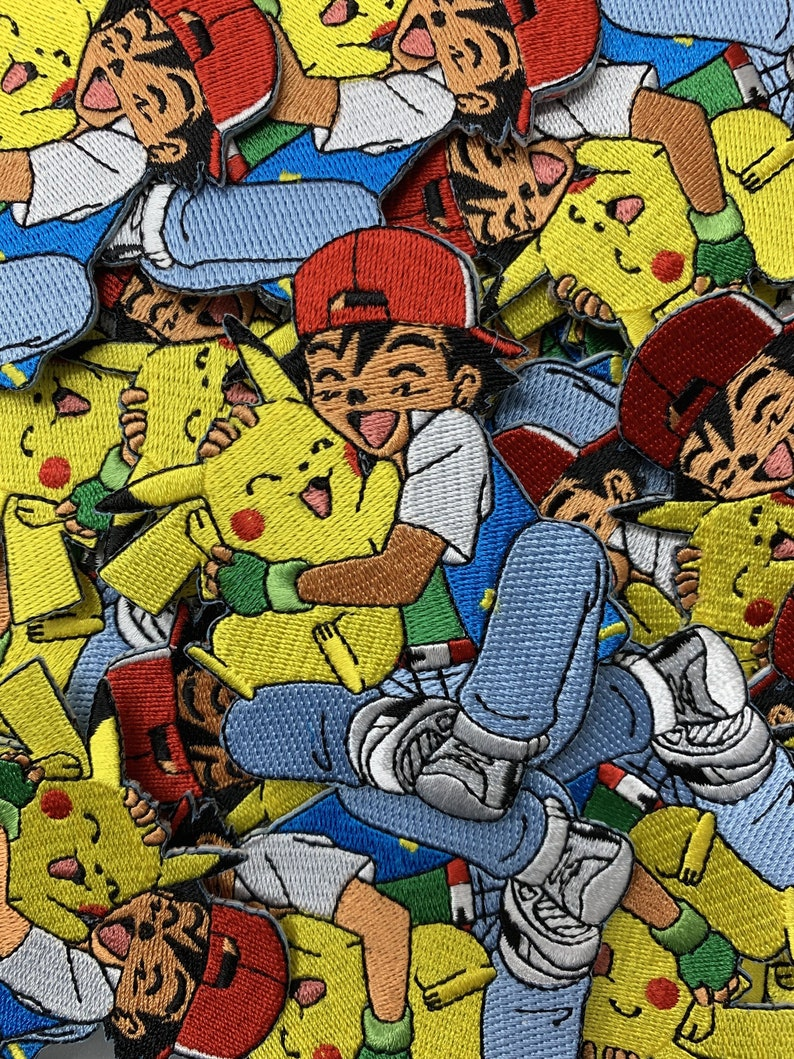 Ash & Pikachu Hugging Pokemon Custom Embroidered Iron-On/Sew-On Patch,  Patches, Limited Edition Patch, Custom Patch, Custom Patches, Pokemon