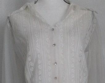 5bf1d451e3a0f2 Vintage 1970s Edwardian Style Blouse   L   White Lace Shirt   Gunne Sax  Style   Rozanne Originals
