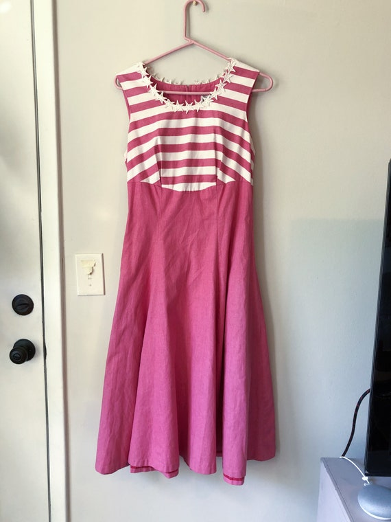 Vintage Star Stripe Embroidered Dress in Pink