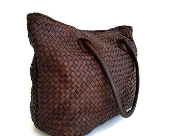 d1f71302f Brown distressed leather woven bag, woven leather tote, washed leather  woven bag, large soft leather bag, Italian leather weave bag