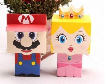 50X cartoon Super Marie Bros Princess Peach Bride/&Groom wedding favors candy box