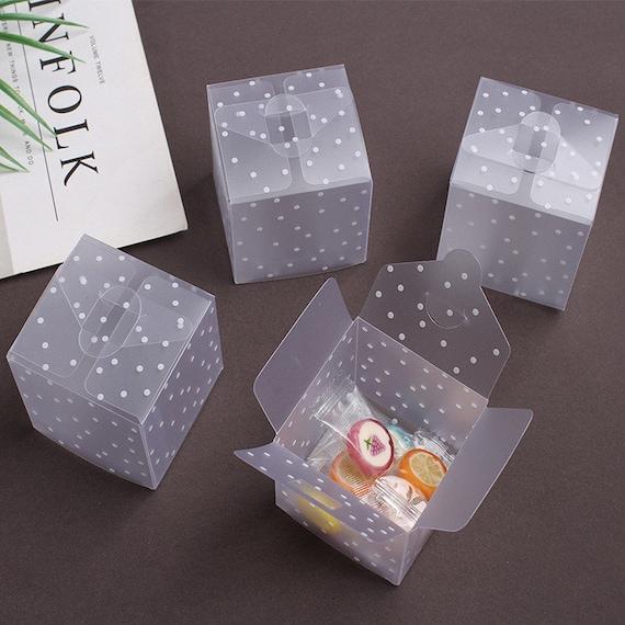 50pcs transparent gift candy box square pvc chocolate bags boxes wedding fav iv