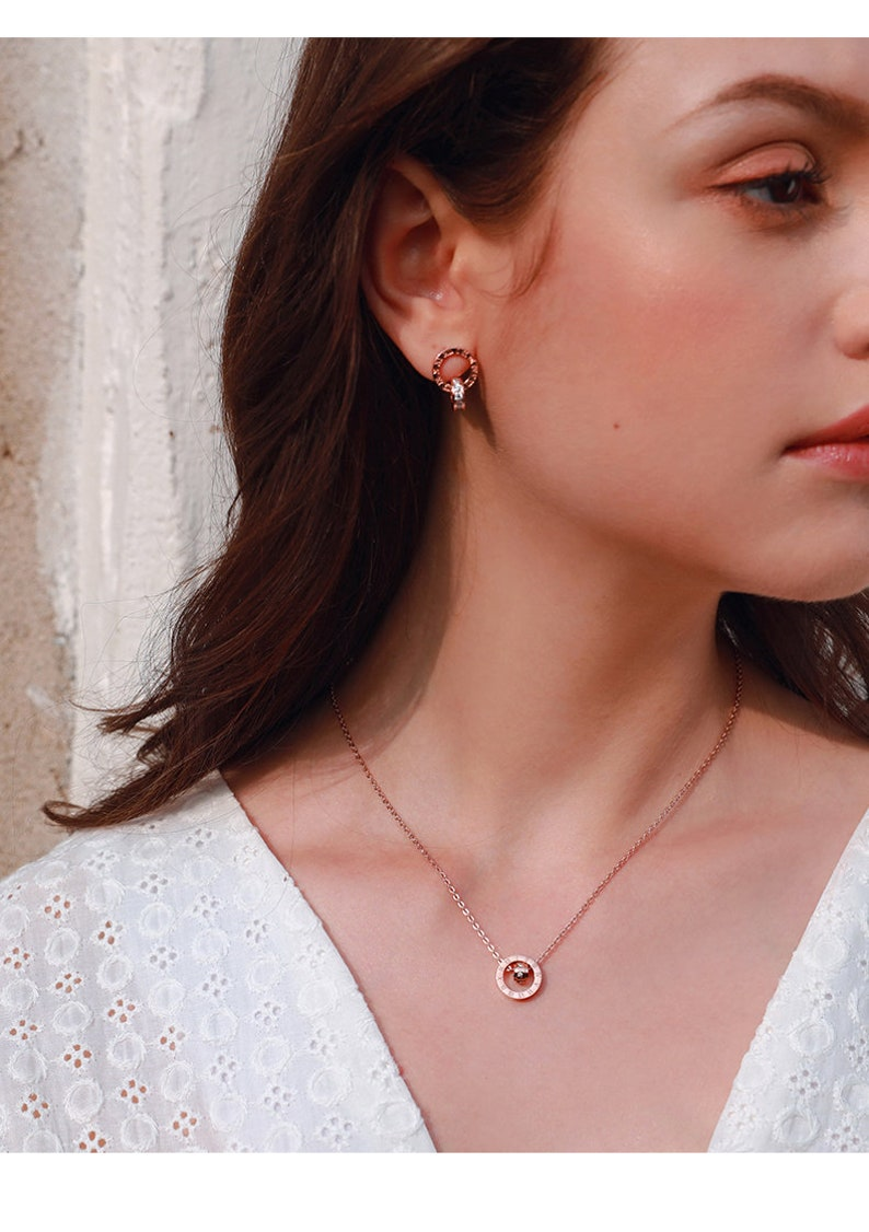 Dainty Rose Gold Earring with Double Circular Pendant Engraved with Roman Numerals