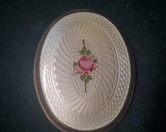 "Huge Guilloche Enamel Rose 2.25"" pendant (Gb9)"