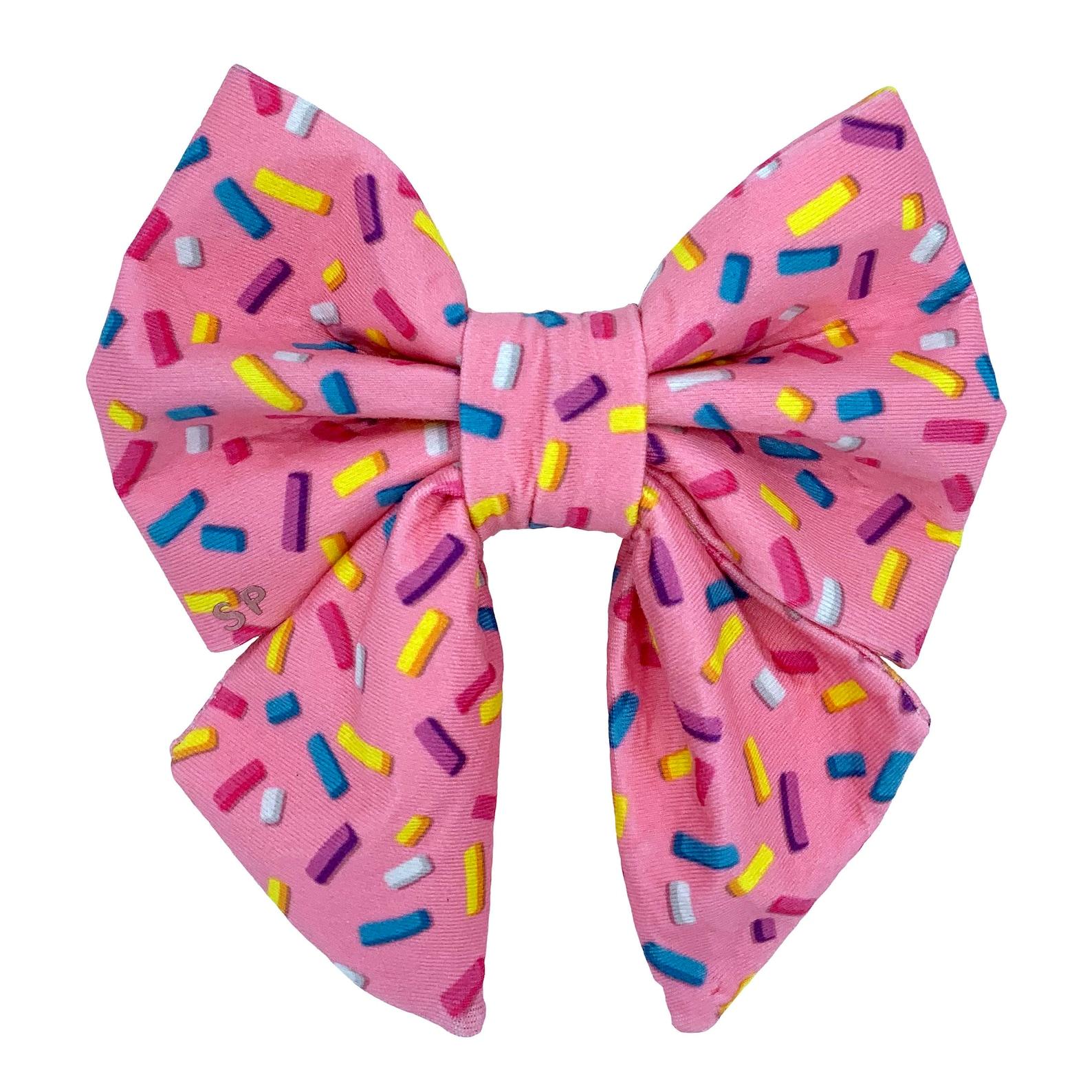Dog bow tie in pink sprinkles design
