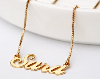 Sophie Silver Tone Name Necklace