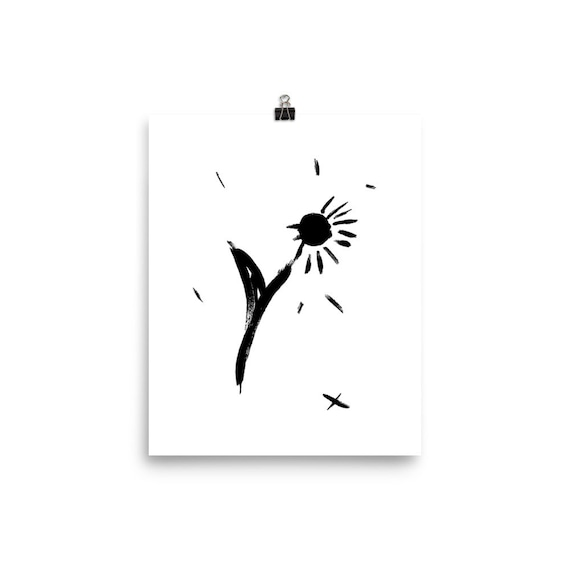 Dandelion Sketch Art Poster Indie Plant Wall Decor Sad Etsy