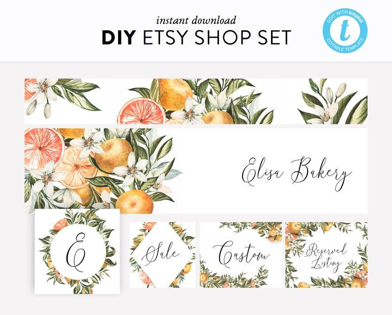 Editable Etsy Shop Kit Templett Etsy Branding Instant Download Watercolor Orange Etsy Shop Branding DIY Easy to edit Etsy Shop Set