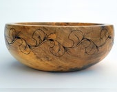 "11"" Silver Maple Bowl with Wood Burned Design"