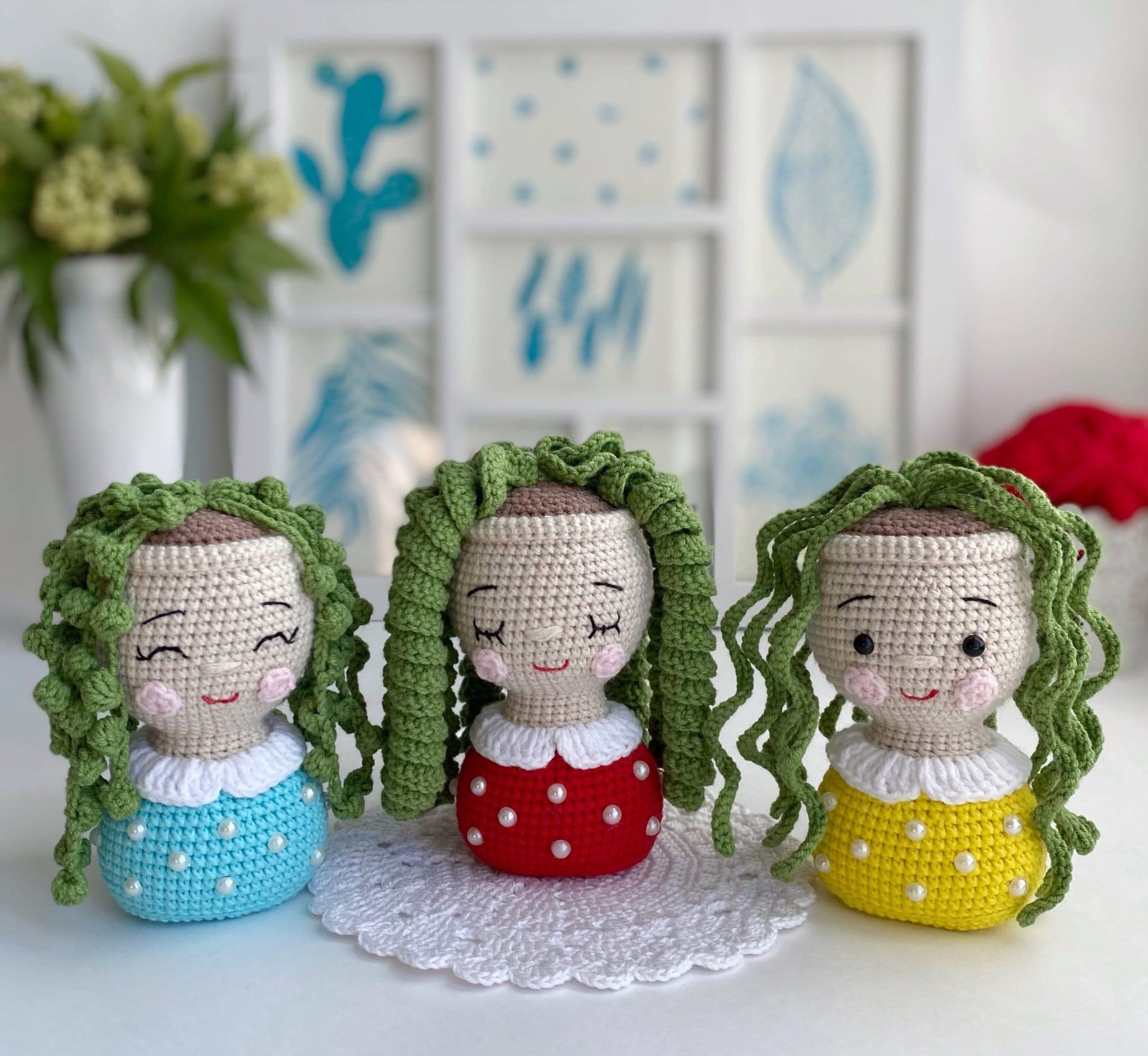 PATTERN Crochet Flower Girl Amigurumi plush plant Crochet toy string of pearls Succulent english pattern Flower in pot Crochet pot holder