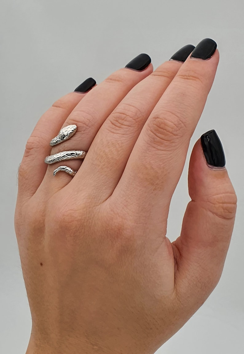 Rose Gold Plated Snake Ring Adjustable Ring Number Animal Ring Gold Plated Silver Plated Snake Ring for Women Silver 925
