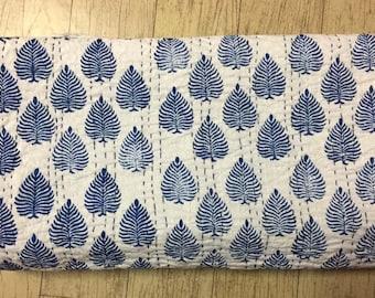 Indian Handmade Handblock 100% Pure Cotton Leaf Print Blue Bedspread Kantha Quilt
