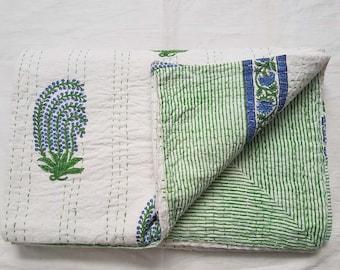 indian New beautiful hand block kantha quilt bedspread throw handmade bedsheet queen size pure cotton kantha quilt