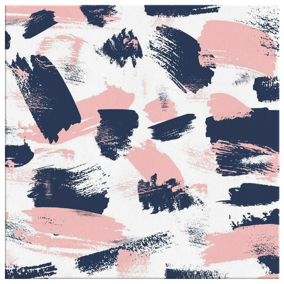 24x24 Inch Navy Blue Sweet Pink Paint Brush Abstract Square Etsy
