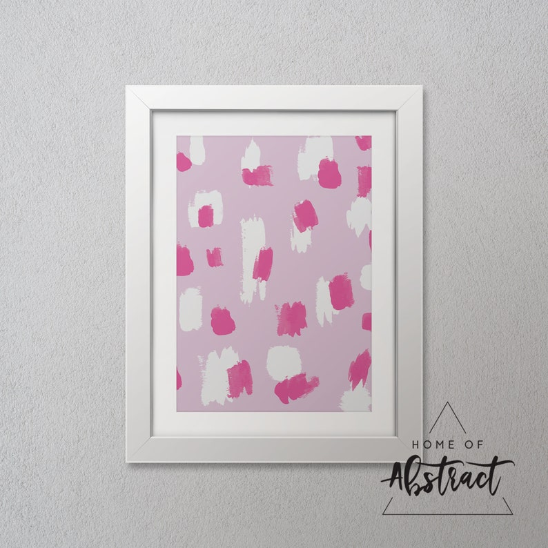 Lavender Violet Pink Brushes Abstract Wall Art Modern Contemporary Abstract Wall Art Decor