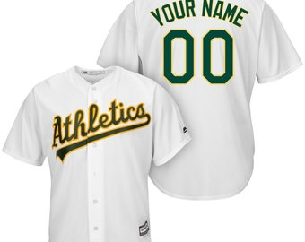 7729ea31 Custom Oakland Athletics Cool base jersey white/green/gray/gold 4 color  available