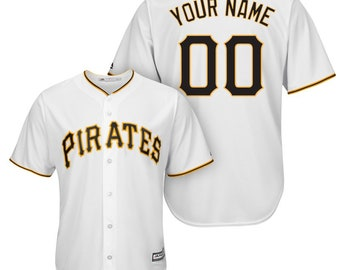 c93d3c555 Custom Mens   Youth Pittsburgh Pirates Cool base jersey white black Gray 3  color available