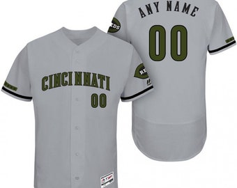 704435487 Custom personalized Cincinnati Reds Memorial day baseball jersey gray
