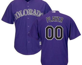 28dc61a6970 Custom Mens   Youth Colorado Rockies Cool base jersey white purple Gray 3  color available