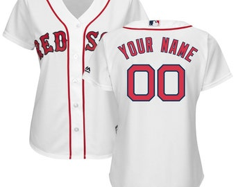 2d25b12d0 Custom personalized Women's Boston Red Sox baseball jersey white/Red/Blue