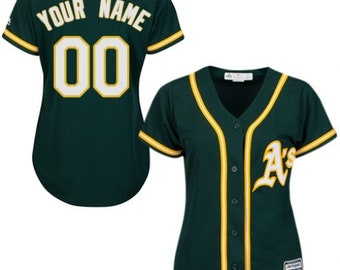 aa9bd1413 Custom personalized Women's Oakland Athletics baseball jersey  green/gray/yellow 3 colors available