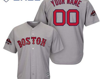 2882e43c3 Custom personalized Boston Red Sox world series champion patch jersey gray