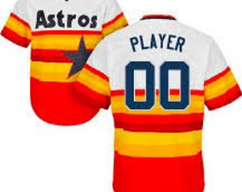 d1959a9d2 Custom Mens   Youth Houston Astros Cool base jersey white rainbow gray  orange 4 color available