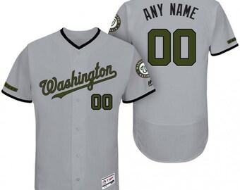a3f026f38bb Custom personalized Washington Nationals Memorial Day baseball jersey gray