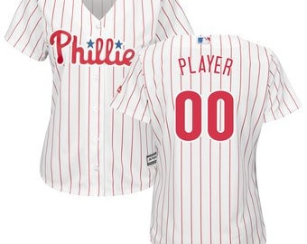73037adf8cf Custom personalized Women s Philadelphia Phillies baseball jersey white  stripe white gray red 4 colors available