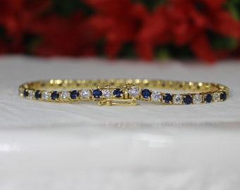 "9.00 Ct Round Cut Diamond 14k Yellow Gold FN Womens Prong Set Tennis Bracelet 7/"""