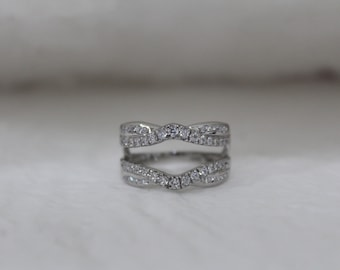 Jewelry & Watches Diamond Engagement Ring Insert Band 14k White Gold Cluster Round Brilliant .70ct Other Wedding Jewelry