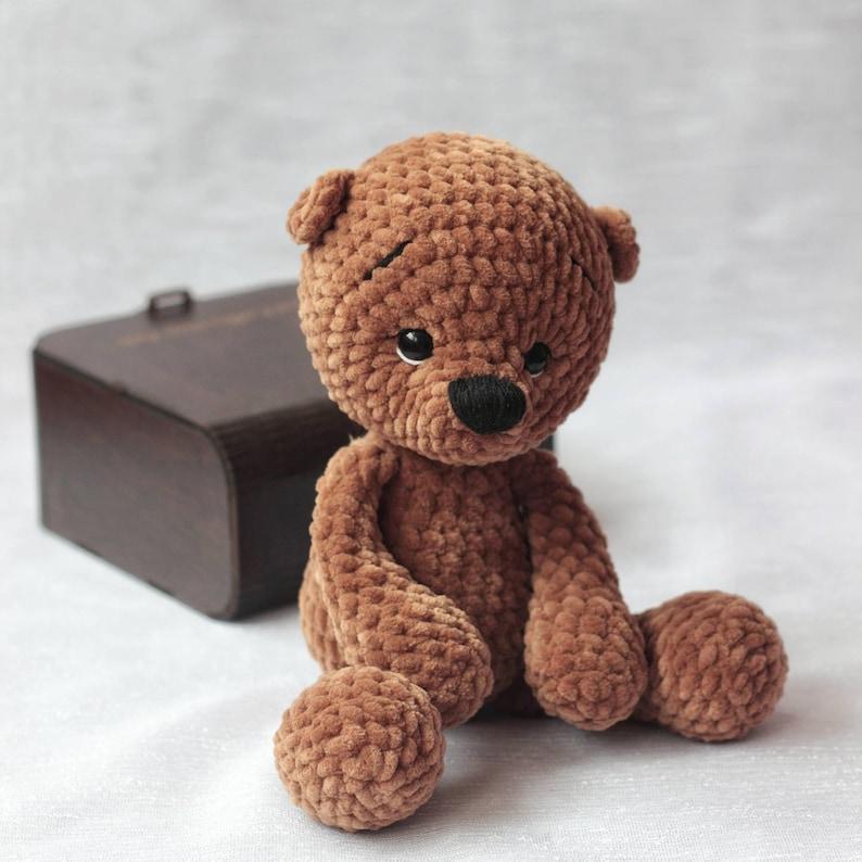 Teddy bear baby shower Cute amigurumi bear Teddy bear plush Baby toy Crochet toy bear 1st birthday gift for boy or girl