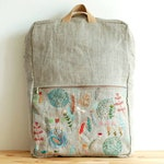 Custom made for Lama - yellow linen adult flat backpack + natural linen child backpack + grey linen child backpack