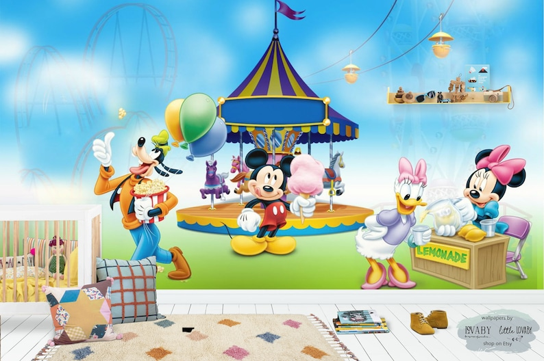 Mickey Mouse In The Amusement Park Wall Mural Mickey And Friends In Disneyland Nursery Wallpaper