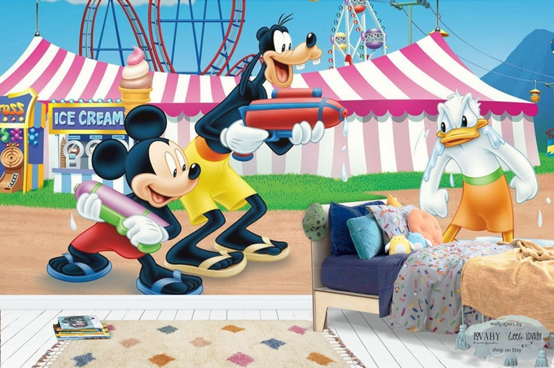 Mickey Mouse Playing With Water Wall Mural Mickey And Friends In The Amusement Park Nursery Wallpaper