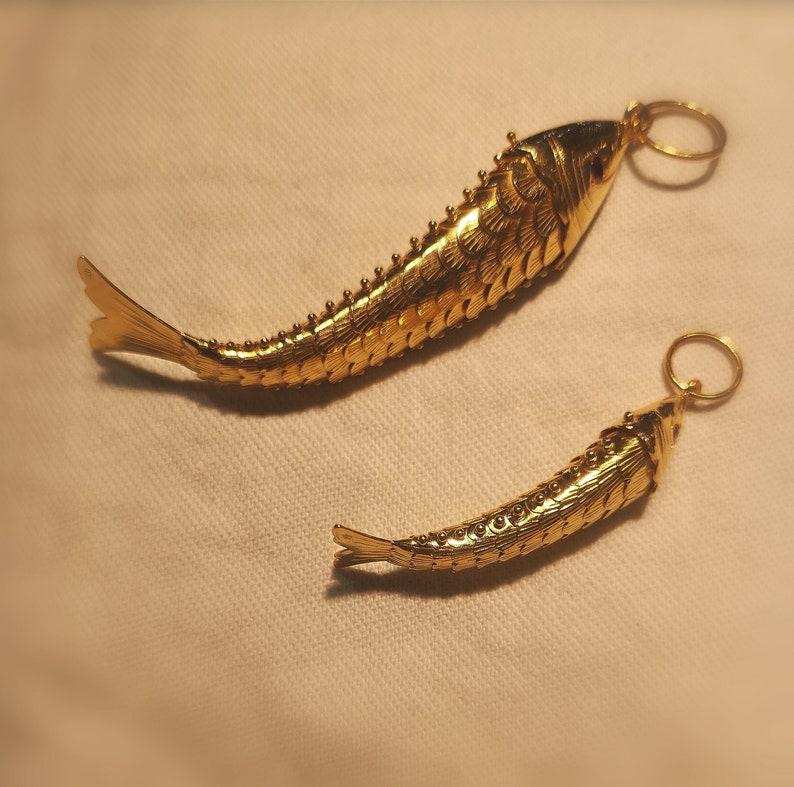 Dancing Fish Gold Pendant Small