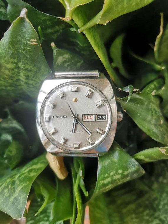Enicar Silver Face watch