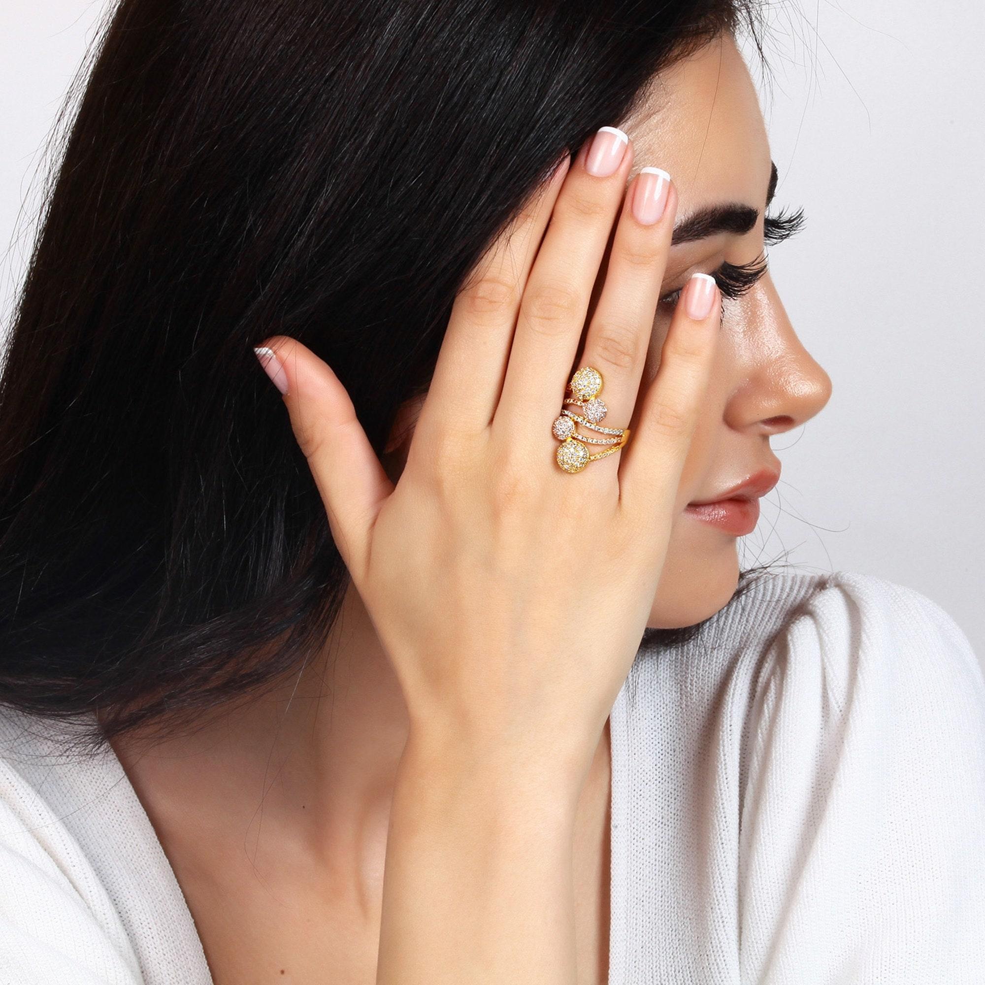 Dcostatement Rings Art Deco Ring Minimalist Ring Start Etsy