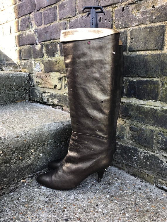 Long Slouchy Gold Leather 80s Boots with Cone Heel