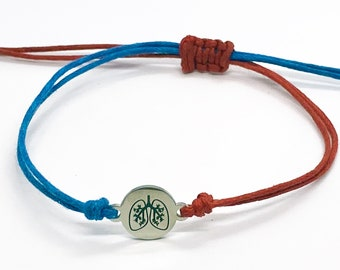 Pulmonary Fibrosis Awareness Lungs Charm Bracelet Exclusive   PF Lung Disease Bracelet Blue and Red   Respiratory Disease Lung Jewellery